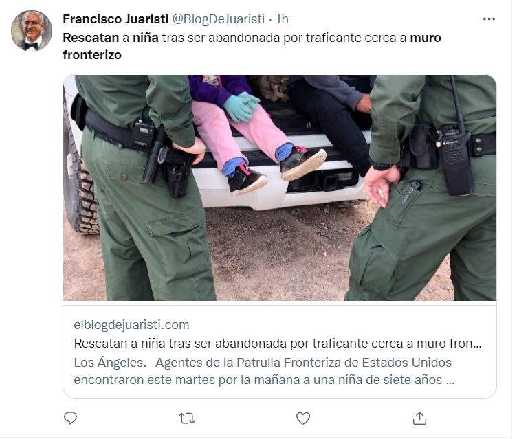 Rescatan niña muro fronterizo: El comunicado de prensa