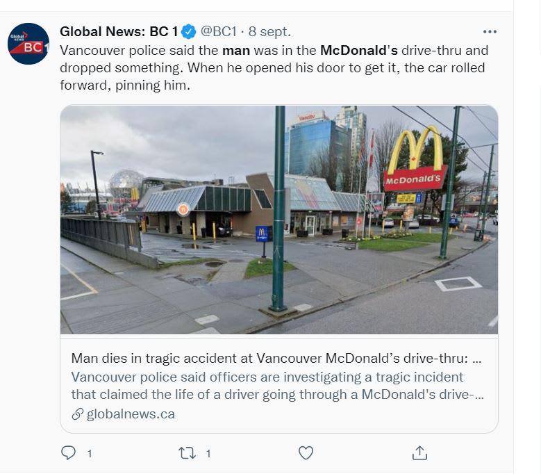 Hombre muere comprar McDonalds: Un accidente automovilístico, ¿con un solo auto?