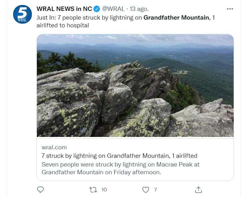 Excursionistas rayo Carolina Norte: Ayudaron a los heridos