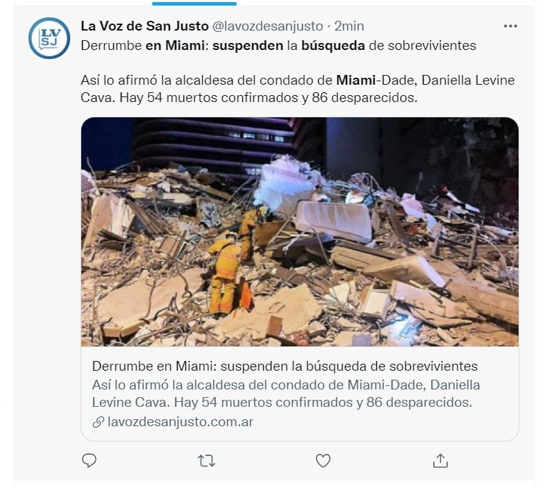 Suspenden búsqueda edificio Miami: Aún se insistió en buscar sobrevivientes