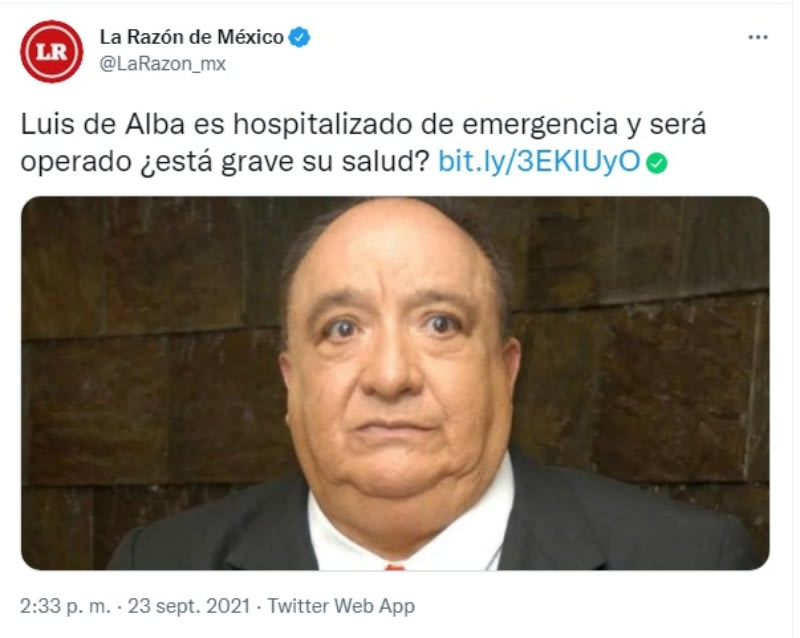Luis de Alba hospitalizado