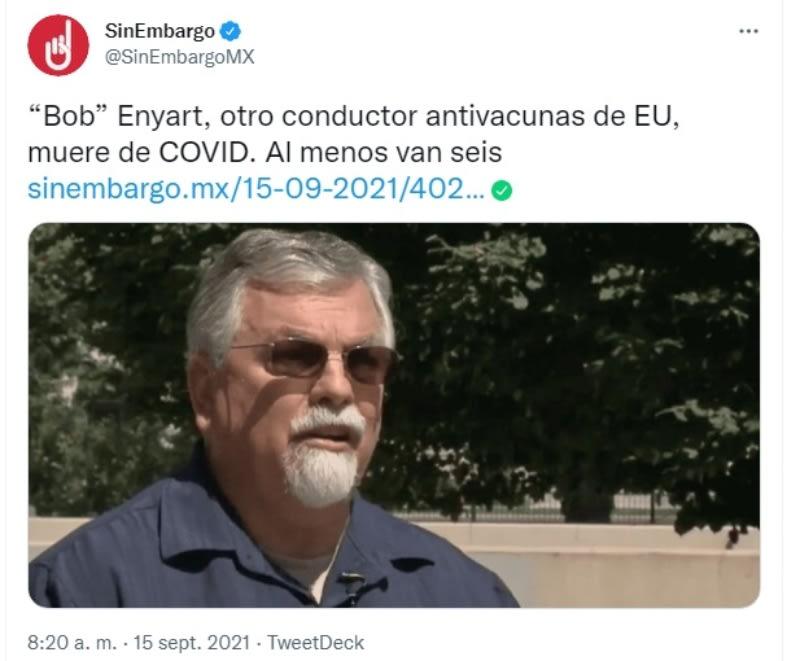 Bob Enyart muere coronavirus: Otros casos similares