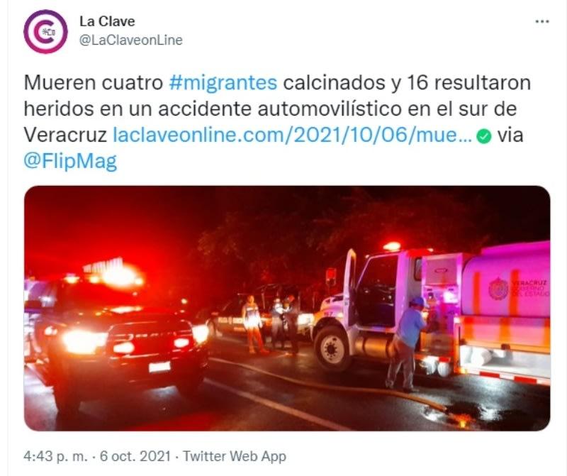 Migrantes mueren calcinados accidente: Extranjeros heridos