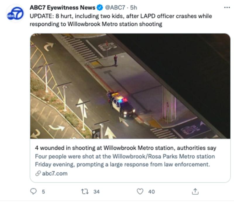 tiroteo metro california