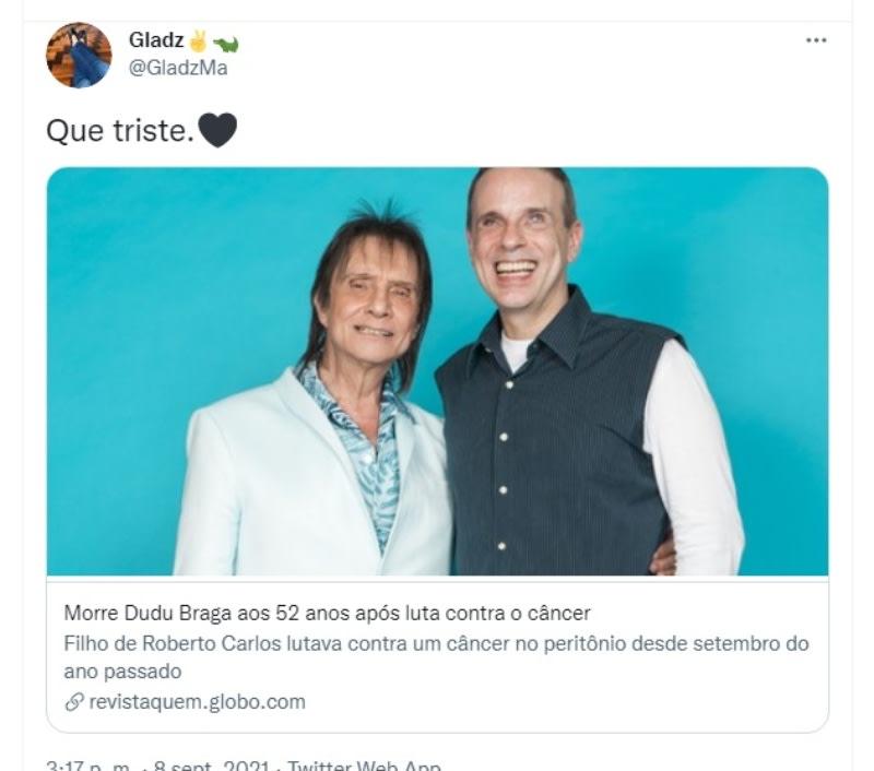 Roberto Carlos death son Dudu Braga