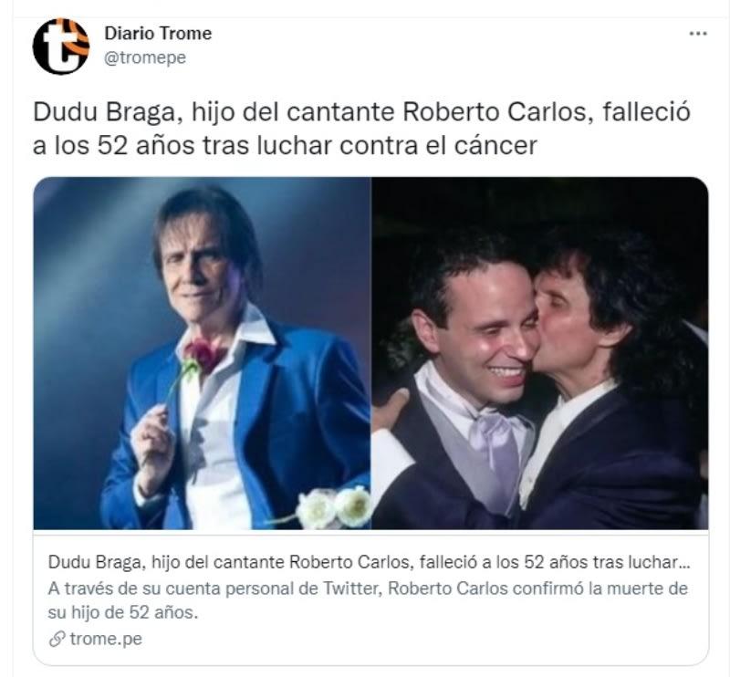 Roberto Carlos death son Dudu Braga: Cancer