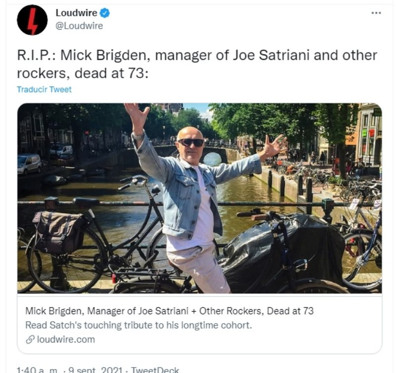 Rolling Stones manager Mick Brigden dies