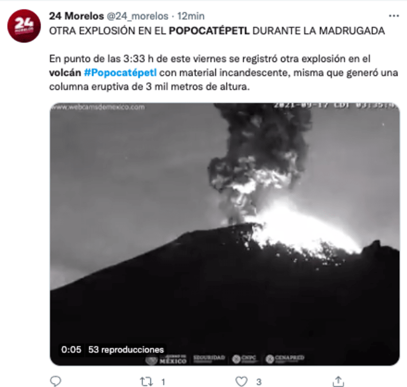 Popocatepetl volcano registers moderate explosion