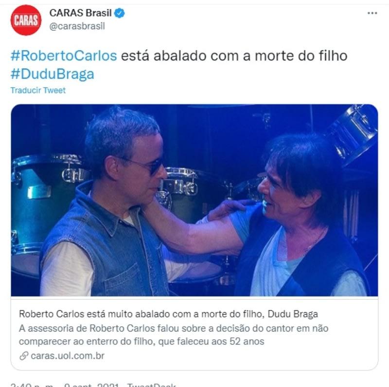 Roberto Carlos death son Dudu Braga: Reaction of Internet users