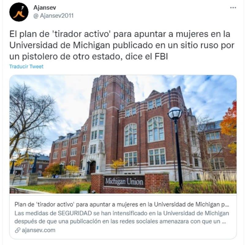 Tirador activo Universidad Michigan