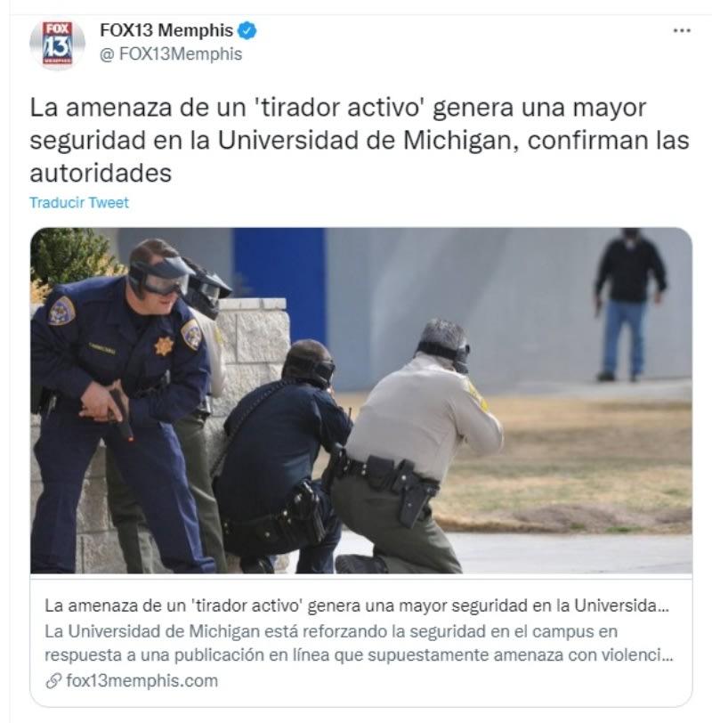 """Tirador activo Universidad Michigan: """"No vayan a clases"""""""