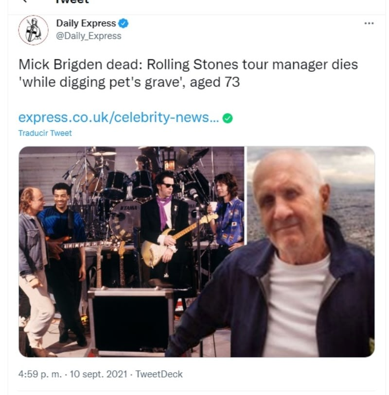 Rolling Stones manager Mick Brigden dies: he was digging a grave