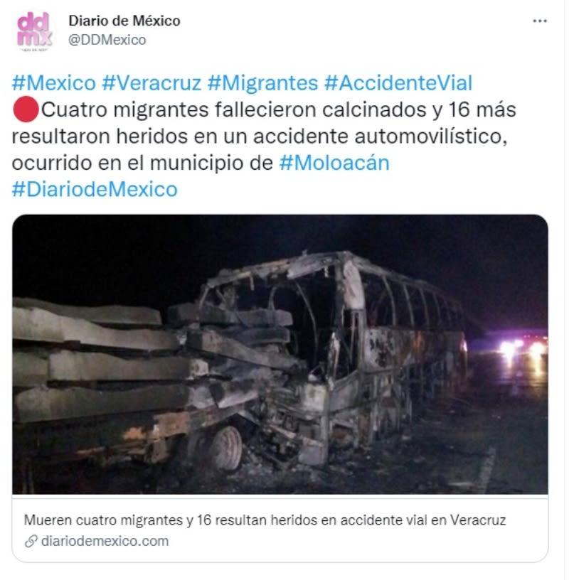 Migrantes mueren calcinados accidente