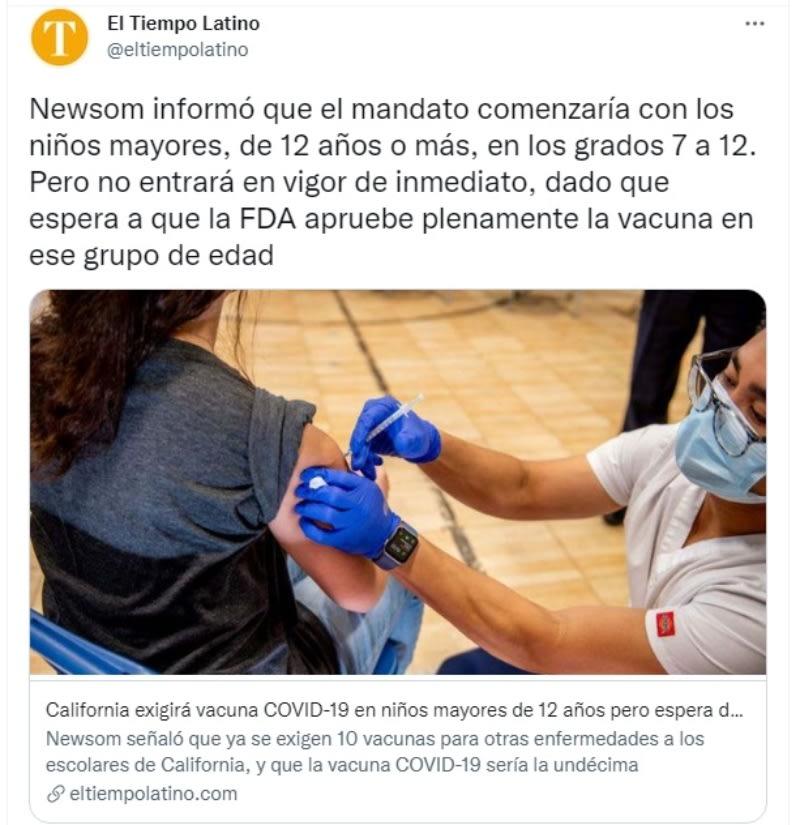 """California vacuna coronavirus niños: """"Exigirá vacunas para los estudiantes a partir del séptimo grado"""""""
