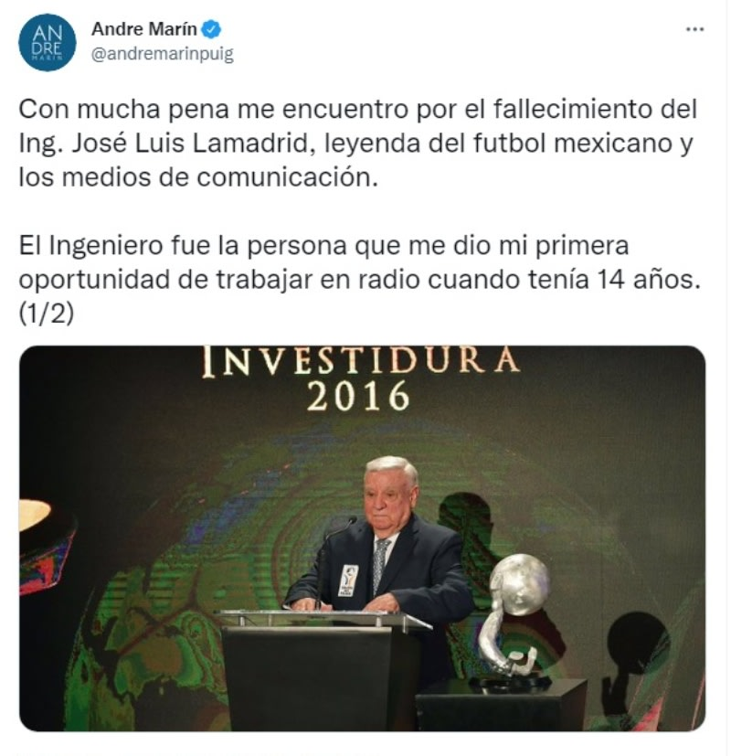 "Muere José Luis Lamadrid: ""¡Hasta siempre!"""