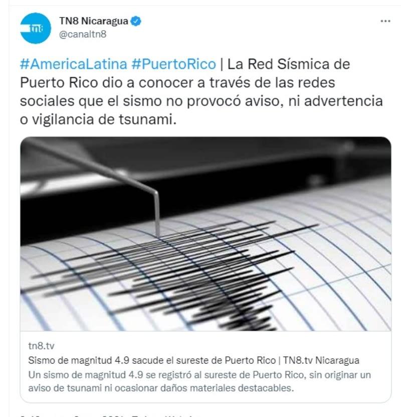 Sismo Puerto Rico: No hay aviso de Tsunami