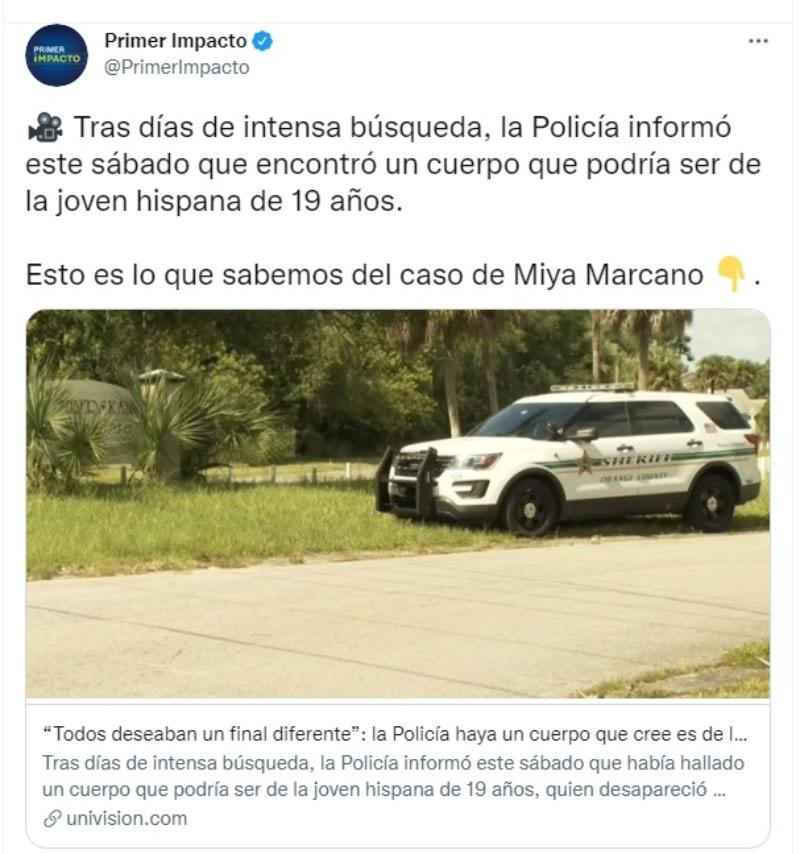 Localizan cadáver Miya Marcano