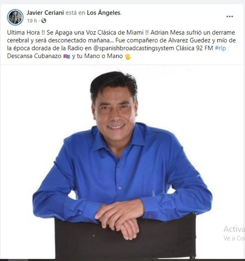 Muere locutor Adrián Mesa