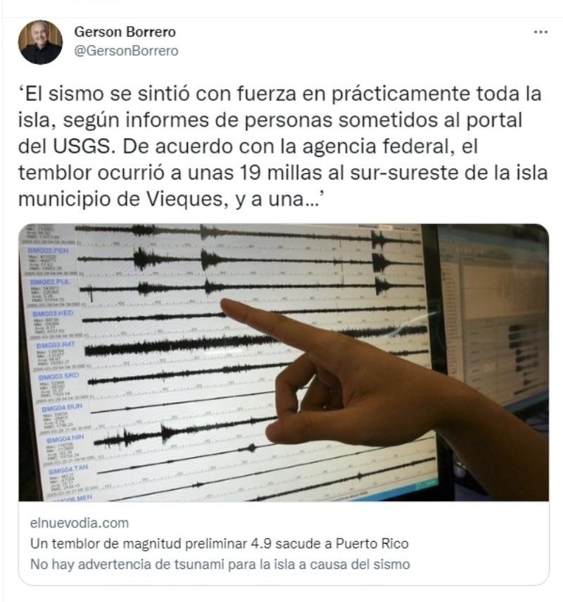 Sismo Puerto Rico: Otro temblor
