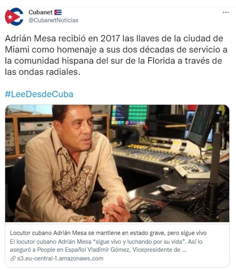 Muere locutor Adrián Mesa: No pierden las esperanzas
