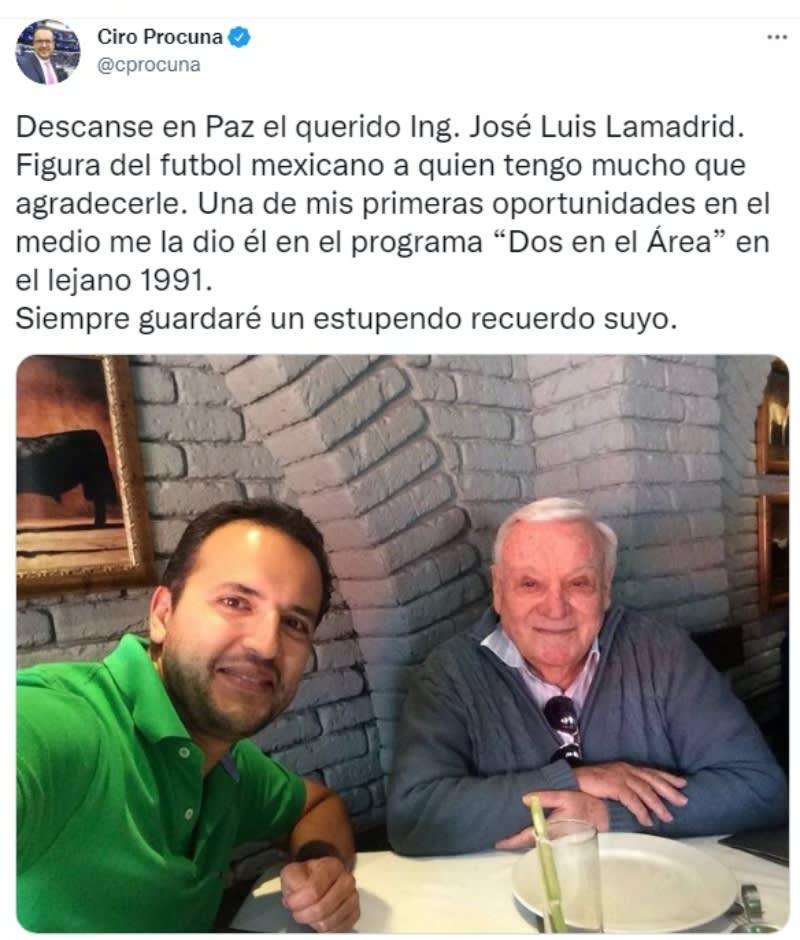 "Muere José Luis Lamadrid: ""Descanse en Paz"""