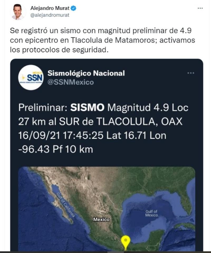 Sismo México Oaxaca: Activaron protocolos de seguridad
