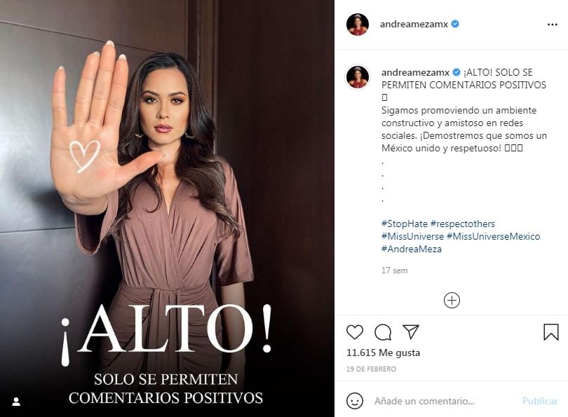 Andrea Meza calla críticas: Alto a los comentarios negativos