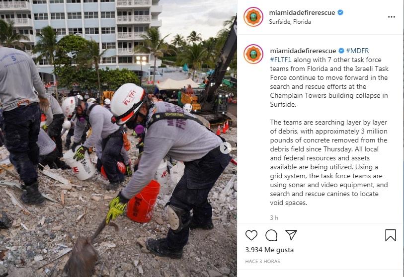 El Departamento de Bomberos de Miami ha compartido fotos del desastre