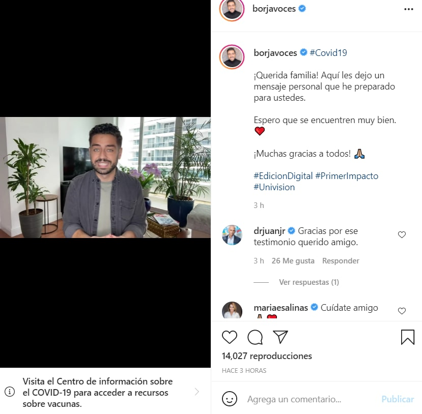 Borja Voces confirma coronavirus: La pandemia todavía no termina