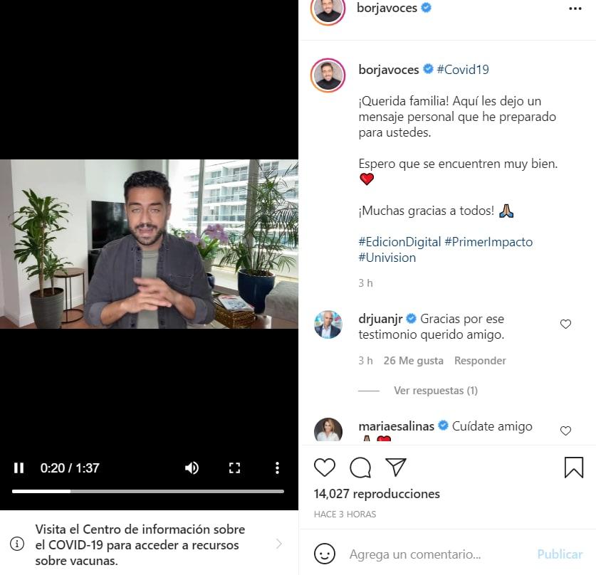 Borja Voces confirma coronavirus: Agradece estar vacunado