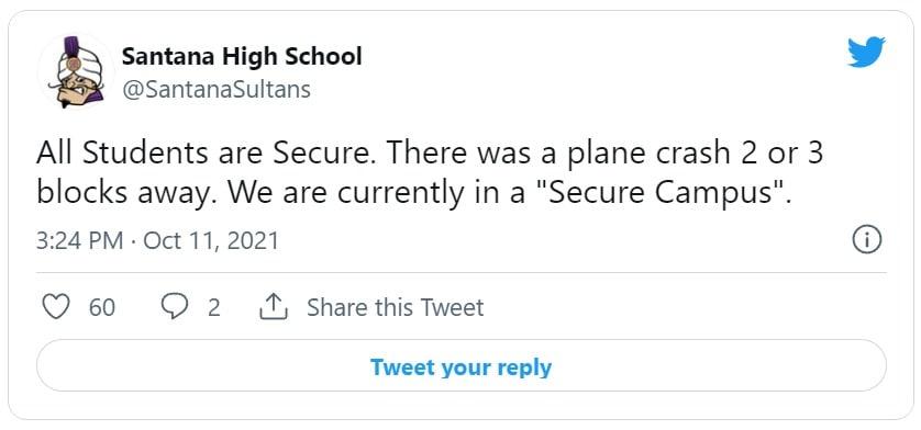 Avión se estrella cerca de high school en el área de San Diego