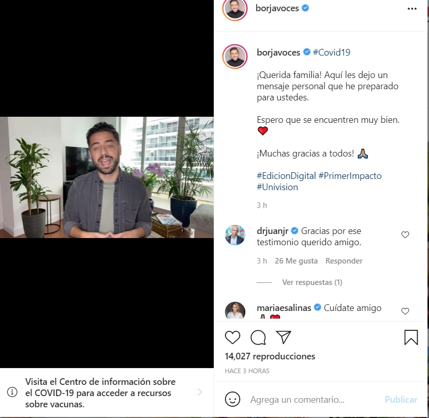 Borja Voces confirma coronavirus: Ha dado positivo en la prueba