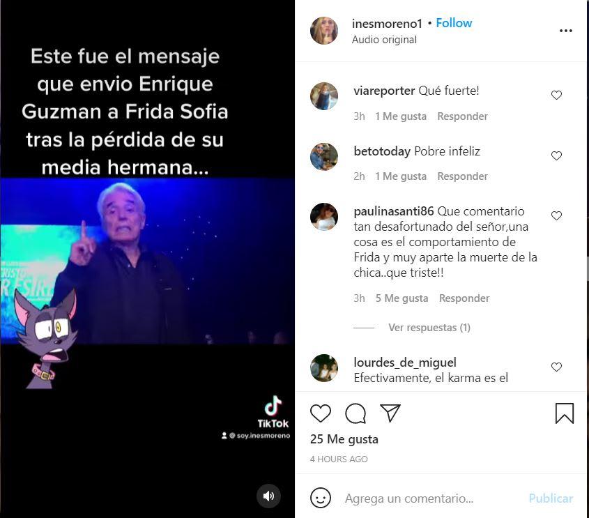 Enrique Guzmán message granddaughter: Karma