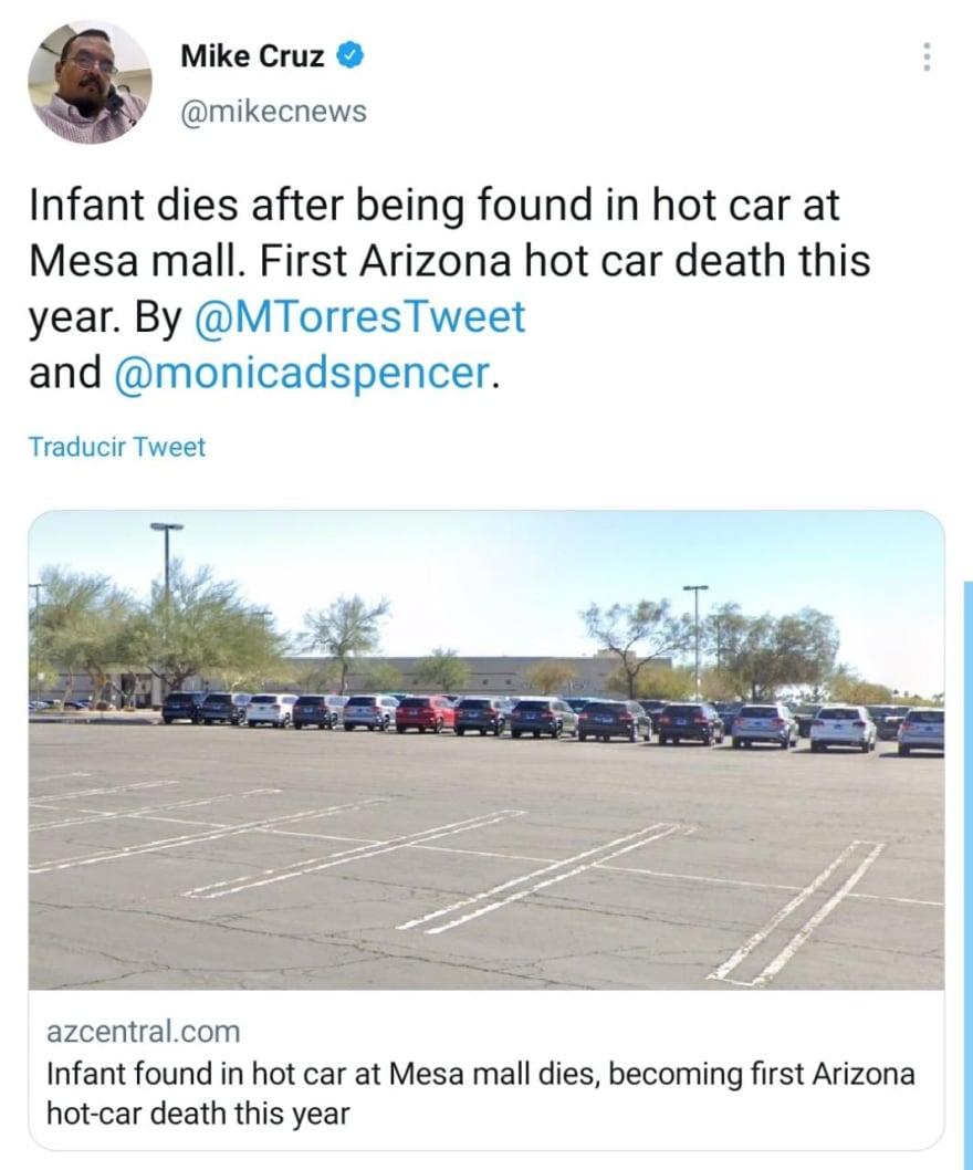 Bebé muere tras ser dejado en auto estacionado