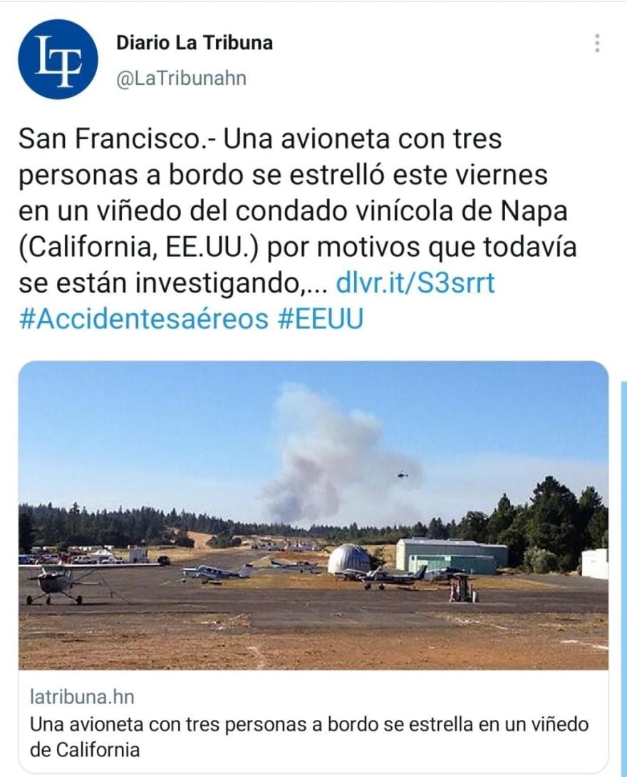 Avioneta se estrella contra viñedo en California y explota