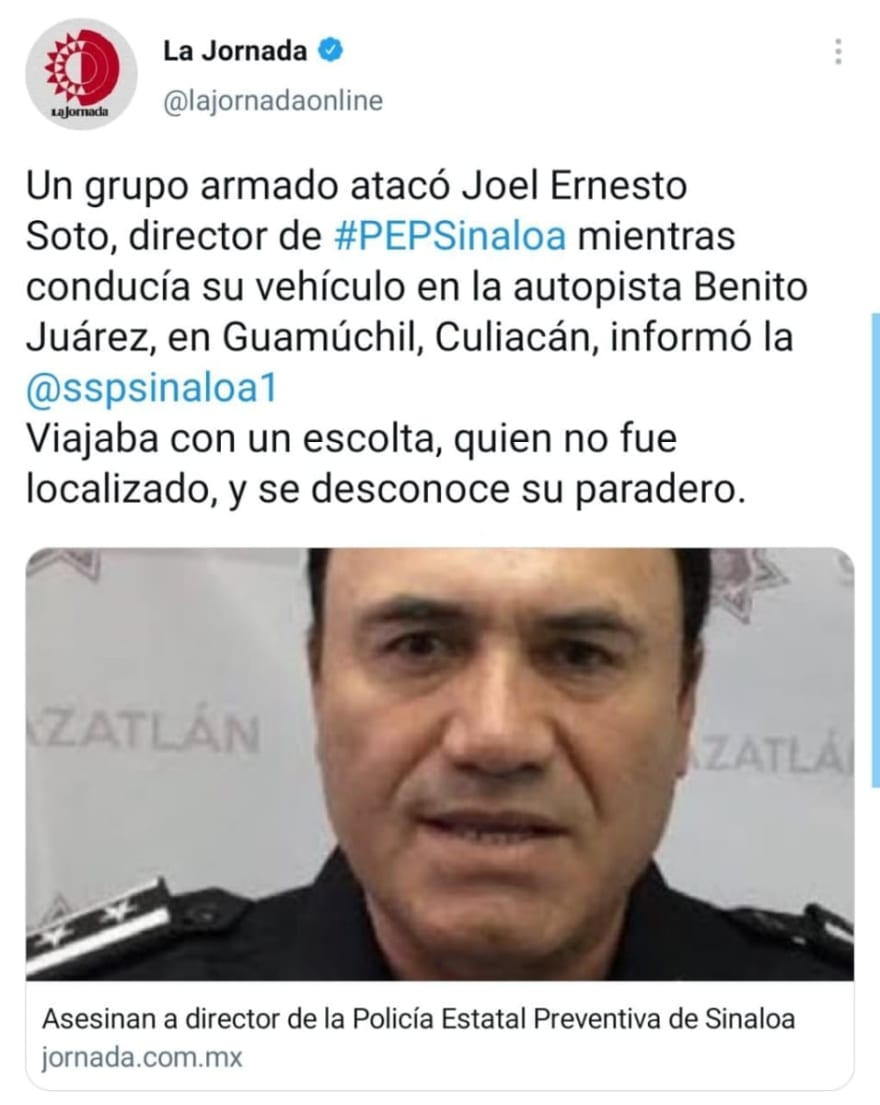 Joel Ernesto Soto, jefe de la policía estatal de Sinaloa, fue asesinado a plena luz del día