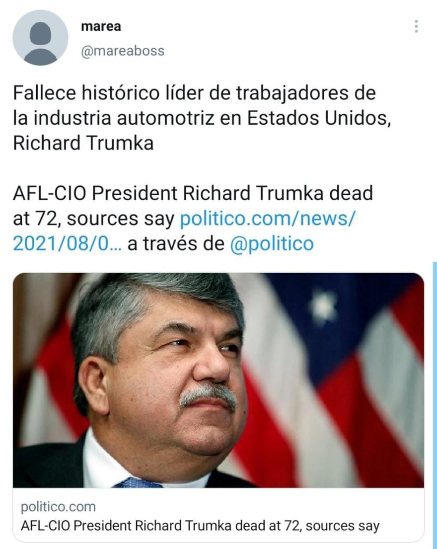 Richard Trumka praised Trump