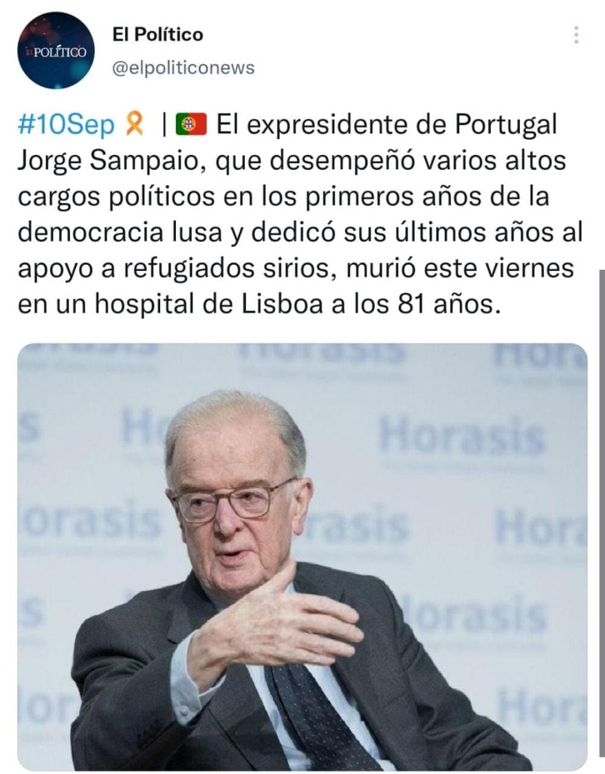 Muere el expresidente de Portugal, Jorge Sampaio