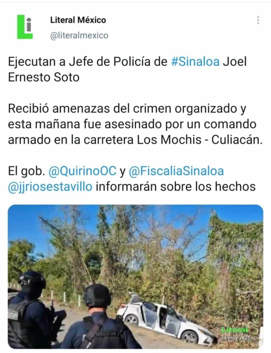 Así quedó el auto donde viajaba el jefe de la policía estatal de Sinaloa, Joel Ernesto Soto