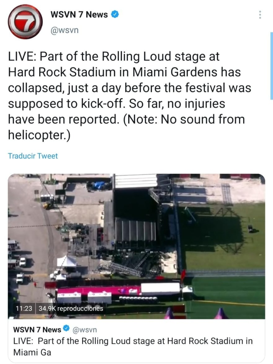 Were there any injuries in the collapse of Miami's Hard Rock Stadium?