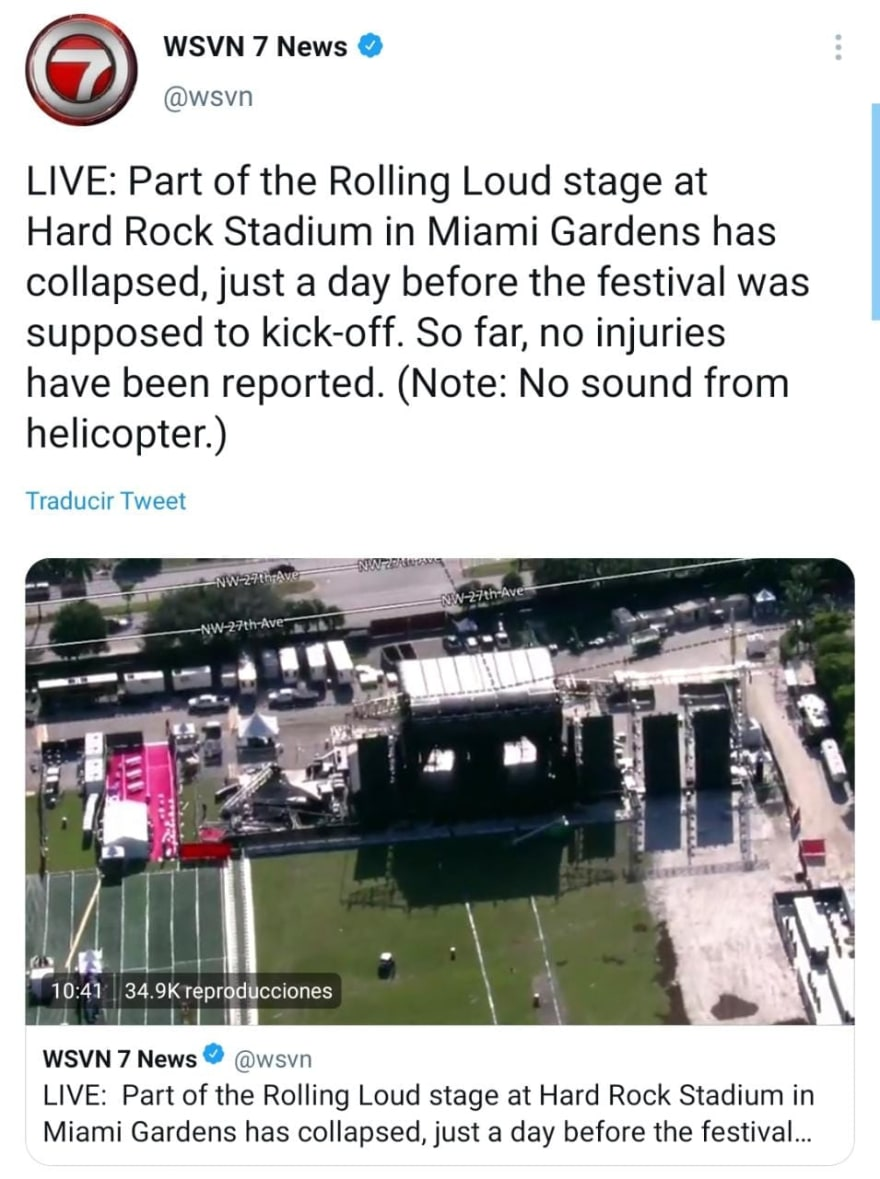 Images of the collapse at Miami's Hard Rock Stadium