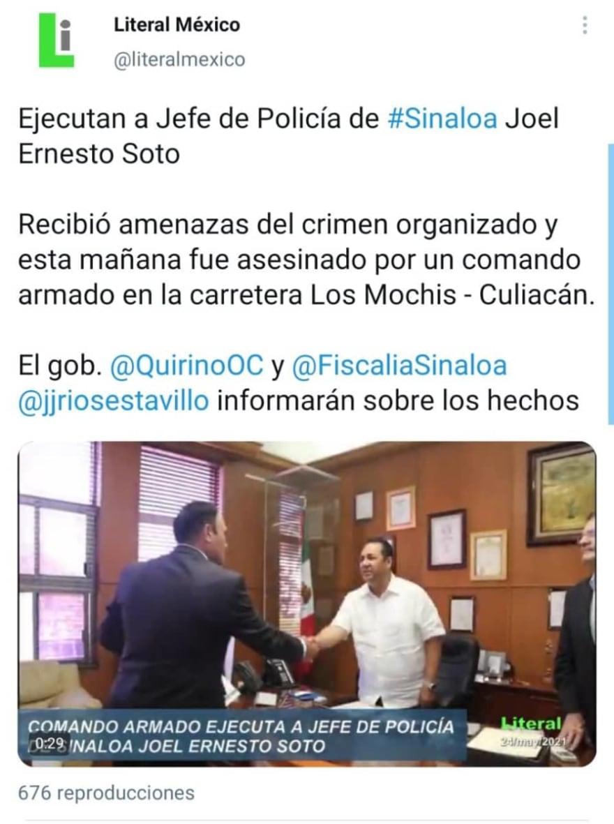 Así fue el brutal asesinato del jefe de la policía estatal de Sinaloa