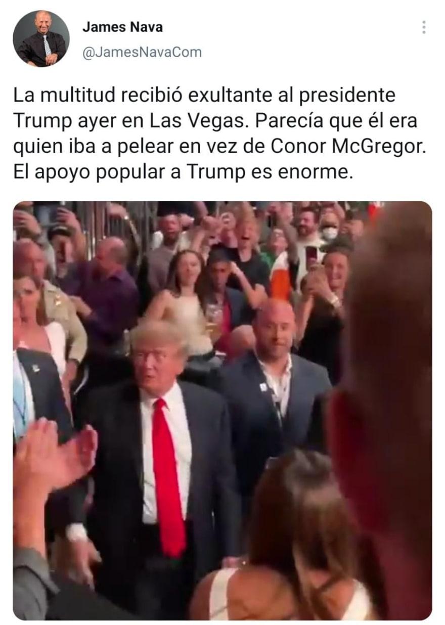 Así hizo su triunfal entrada el expresidente Trump en la pelea de McGregor vs Poirier