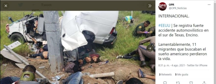 Discretion is recommended when looking at photos of the bodies of immigrants after a truck accident traveling through Texas