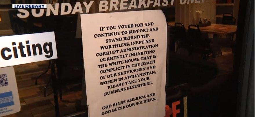 Restaurante rechaza servicio a quien apoye la actual administración de Biden
