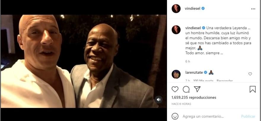 """Vin Diesel saying goodbye to Johnny Ventura: """"A pleasure"""""""