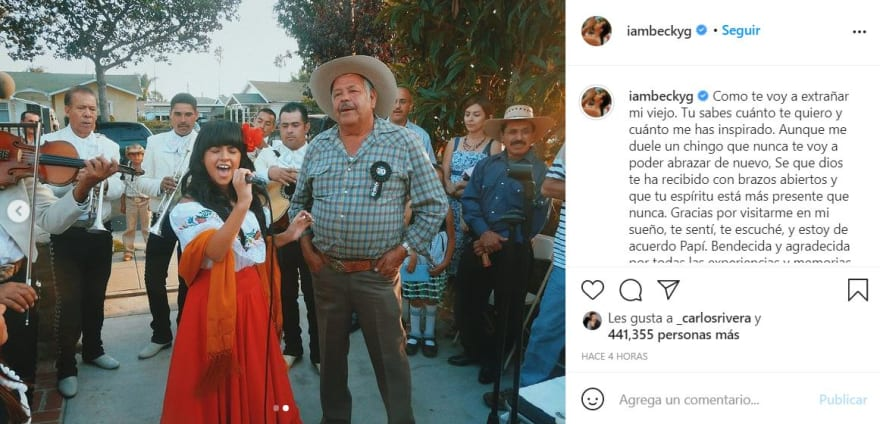 """Grandfather Becky G dies: """"Your spirit is more present than ever"""""""