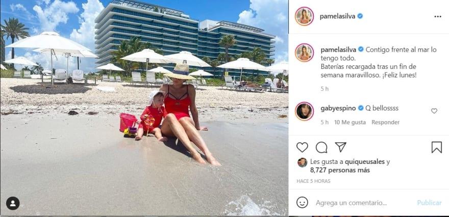 Tras rumores de nuevo embarazo, Pamela Silva aparece en traje de baño desde la playa