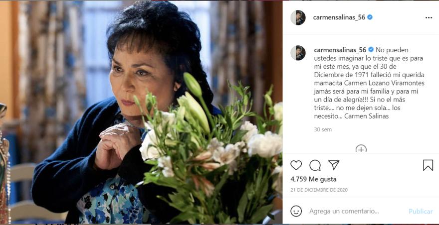 Carmen Salinas nuevamente luto: Pide por su descanso