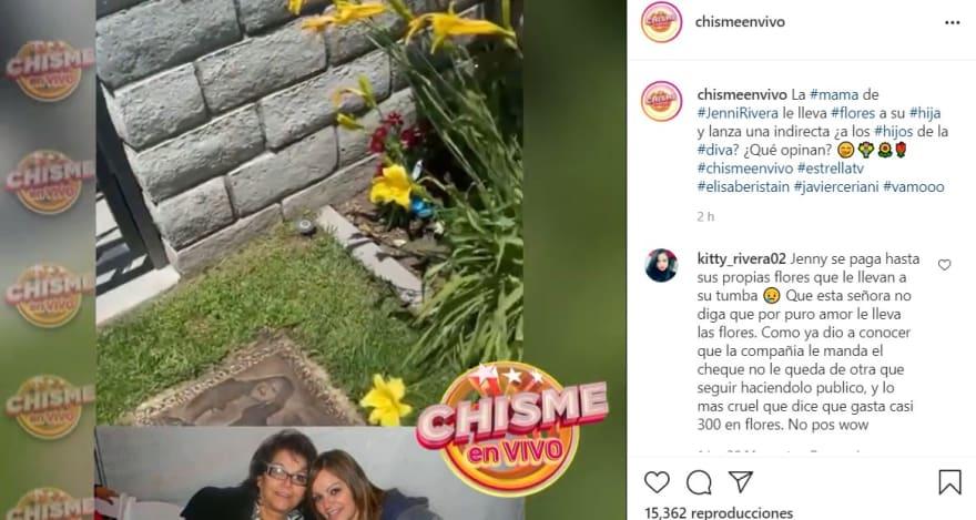 En medio del escándalo por el dinero de Jenni Rivera, su mamá visita su tumba y lanza indirecta para sus nietos